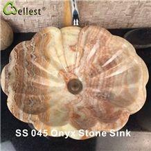 Kitchen/Bathroom/Vanity Onyx Washing Basin/Sink/Bowel/Vessel in Lotus Flower Shape