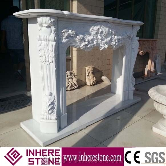 White Marble Indoor Flower Electric Fireplace Mantle Surround From