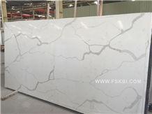 Calacatta White Quartz Surfaces Polished Scratch Resistant Slabs