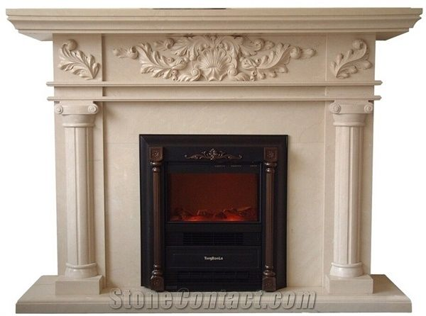 Indoor Freestanding Used Cheap Beige Marble Fireplace Mantel China Marble Fireplace On Sale Stonecontact Com