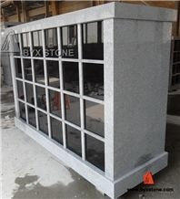 48 Niche Chinese Polished Grey Granite Columbarium / Columbaria with Black Door