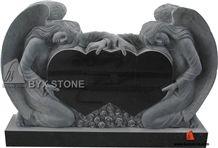 Black Granite Double Heart Tombstone / Angel Monument / Headstone, Black Granite Angel Monuments