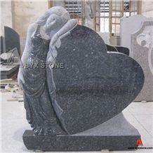 Blue Pearl Granite Angel Carving Monument / Heart Headstone / Tombstone
