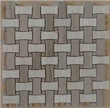 Wooden White&Athens Grey ,Dark Emperador&Cream Marfil , Honey Onyx Bone Basketweave Mosaic Polish