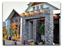 Roxstone Stackstone Panel, Grey and Yellow Quartzite Wall Cladding, Cultured Stone Viet Nam