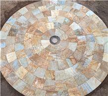 Cream Slate Puzzled Landscape Paving Stone,Outdoor Floor Decoration Items