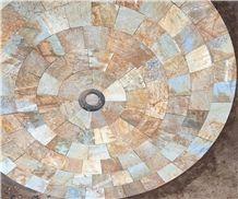 Hebei Golden Slate Mosaic Floor,Regular Flagstone Floor for Patio