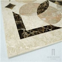 Turkey New Altman Beige Marble Flower Design Thin Laminated Medallion