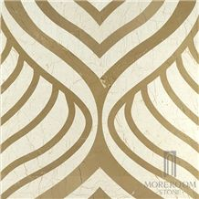 Turkey Queensland Golden Beige Marble Tile Fashion Design Home Decoration Composited Marble Waterjet Medallion Marble Price