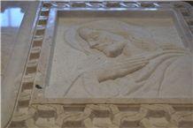 Headstone Botticino Marble, Perlato Sicilia Marble Sculpture, Beige Marble Italy Statue