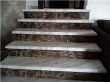 Ajax Marble Steps, White Marble Greece Stairs & Steps, Dark Emperador Marble Riser Staircase