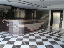 Marron Emperador Marble and Sivec White Ab Marble Floor Pattern