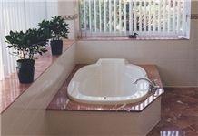 Rosso Verona Marble Bathtub Design