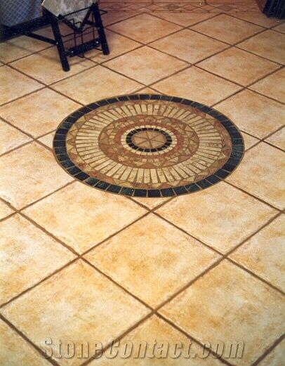 Terracotta Floor Tiles and Mosaic Medallion from United