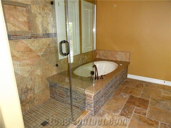 Carnival Travertine Tile With Granite Tub Deck From Mexico