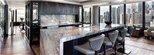 Ash Gray Marble Kitchen Countertop, Tepeaca Jaspe Marble Island Top