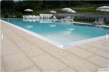 Brushed Pietra Di Istria Swimming Pool Terraces, Coping, Kanfanar Limestone Pool Coping, Beige Limestone