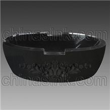 Absolute Black Carved Bathtub, Black Granite Bathtubs