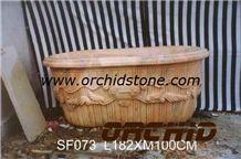 Carved Bathtubs, Beige Marble Bath Tubs