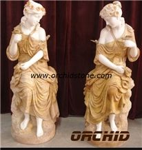 Carved Marble Western Statuary, Beige Marble Sculpture & Statue