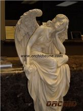 Carved Marble Western Statue, Beige Marble Statues
