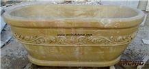 Carved Stone Bath Tub, Beige Marble Bath Tubs