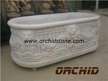 Hand Carved Stone Bath Tub, White Marble Bath Tubs