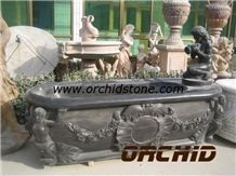 Hand Carved Stone Bathtub, Black Marble Bathtubs