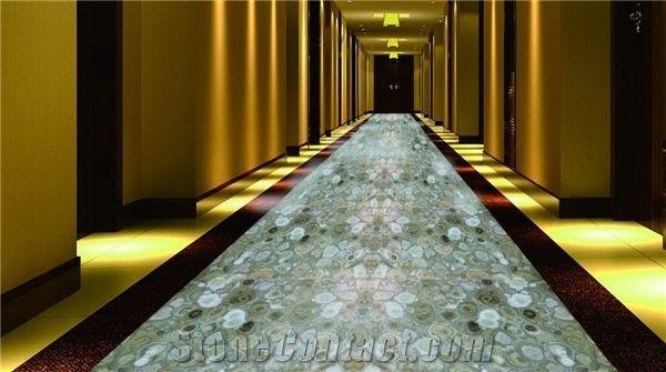 Wood Jade Floor Tile Panel Gem Stone Semi Precious Stone