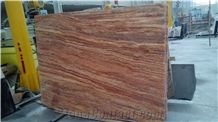 Iran Cheap Brown Red Travertine Polished Big Flag Slabs, Tiles for Wall, Floor Covering, Natural Building Stone Filled Holes for Decoration, Hotel Lobby, Bathroom, Toilet Use, Stone with Veins Pattern