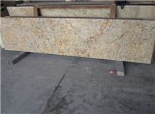 Popular Brazil Cheap Golden Crystal Yellow Granite Polished Kitchen Countertop, Desk,Bench,Desk,Island Worktops with Round/Bullnose Edge Profile, Custom Design Natural Building Stone, Factory
