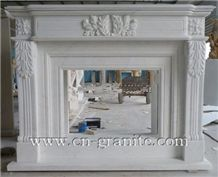 China Own Factory White Marble Fireplace Design,For Interior Fireplace Decoration,Wholesaler-Xiamen Songjia