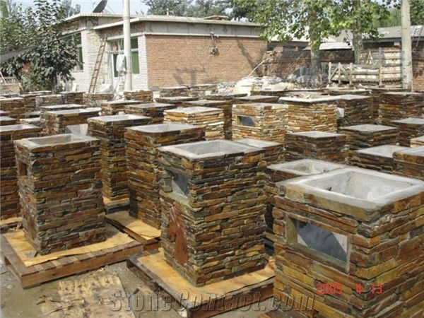 Slate Garden Palisade Decor Flamed Natural Stone Rustic