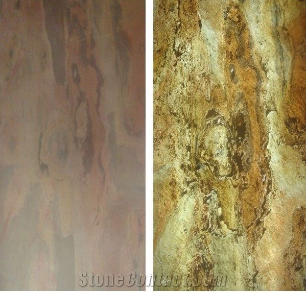 Multi Pink Translucent Stone Veneer Slate Backlit Wall