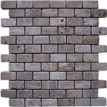 Tumbled Zanjan Beige Travertine Brick Mosaic Mk-007