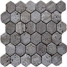 Tumbled Zanjan Beige Travertine Hexagon Mosaic Ak-003