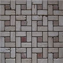 Zanjan Beige Travertine Tumbled Brick Mosaic Mk-006