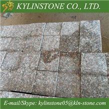 G648 Zhangpu Red Granite Cube Stones, Red Granite Paving Stones / Cobblestones