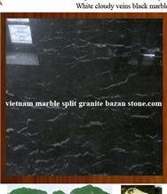 Cloudy Veins Black Marble, Black Nghe an Marble Slabs