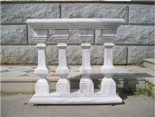 Natural Marble Balustrade & Railing, Cararra White Marble Railings
