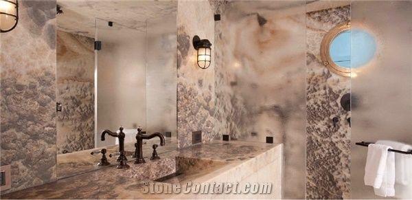 Sunset Cloud Onyx Bathroom Wall And Floors Shower Vanity Top Multicolor Turkey Bath