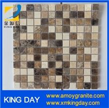 Brown and White Marble Mosaic Tile