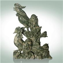 Huaan Jade Stone Double Rooster Handicrafts
