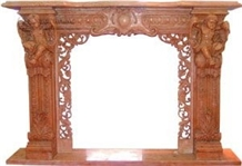 Red Marble Carved Fireplace Mantel and Hearth