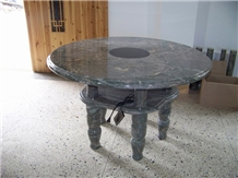 Round Green Jade Stone Table