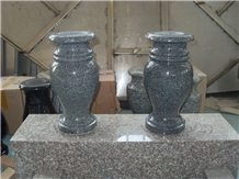 G654 Granite Dark Grey Color Vases, Flower Vases