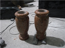 Tianshan Red Granite Cemetery Monumental Vases