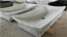Carrara White Marble Wash Basin Rectangle Sinks