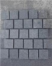 G684 Black Basalt Cube Stone & Pavers on Mesh