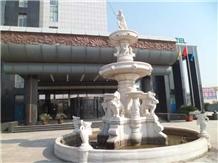 White Marble Garden Exterior Waterfall Fountain